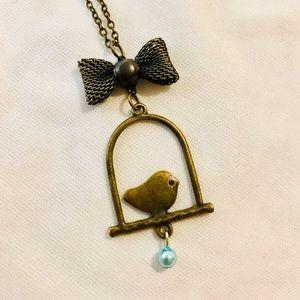 Bird ribbon bow blue bead necklace